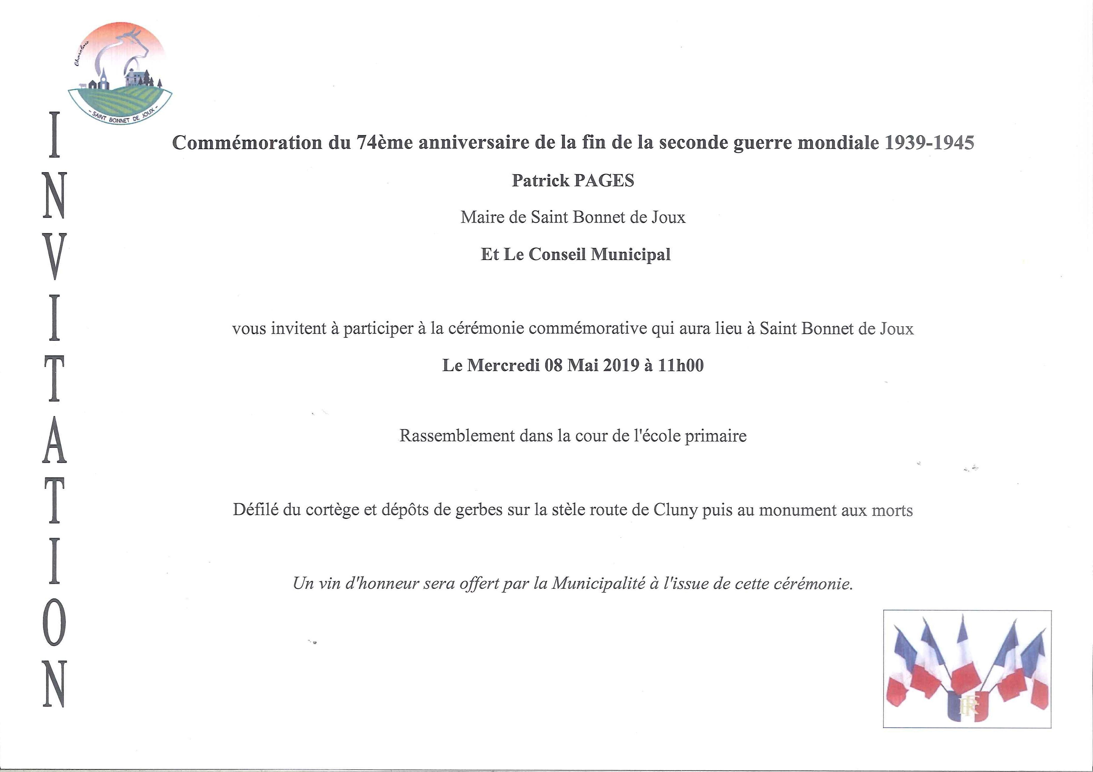invitation ceremonie 08 Mai